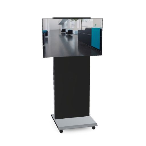 monitor caddy Rahmen und Bodenplatte weißaluminium Frontabdeckung und Rückwand schwarz, Abbildung Frontseite mit Bildschirm (OFML)