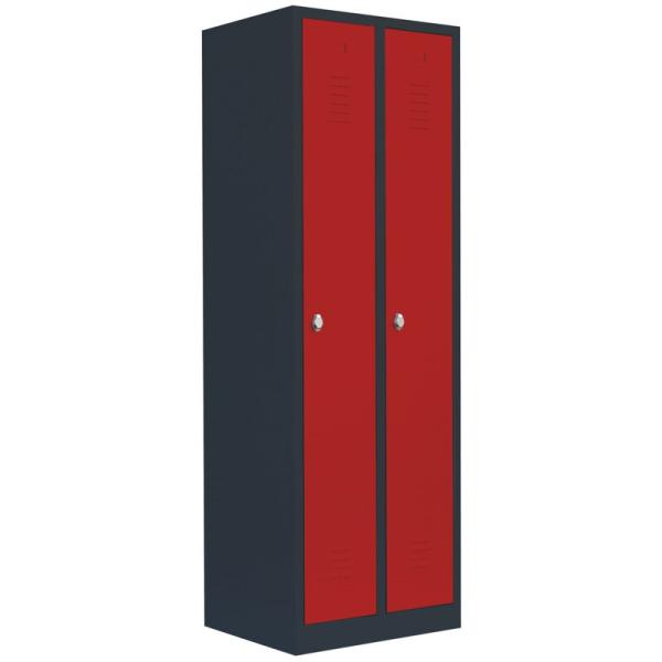 Garderobenschränke Anthrazit/Rot Türen rechts