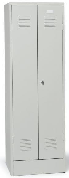 Abb. Garderoben- / Fächerspind in der Türenfarbe Lichtgrau (RAL 7035)