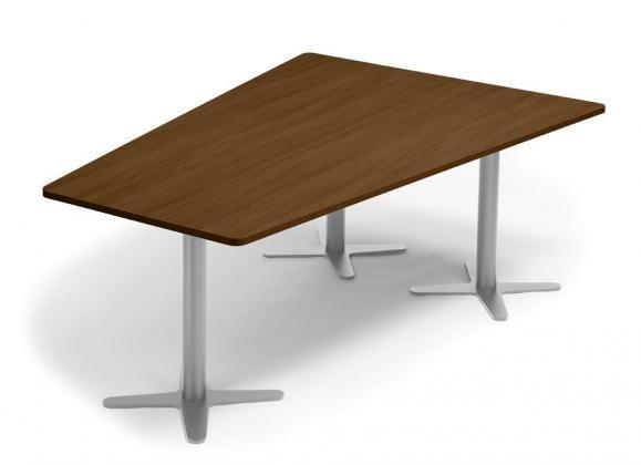 Konferenztisch DUBLIN Platte Nussdekor Dunkel / Gestell Alu RAL 9006 / 200x80/141 cm