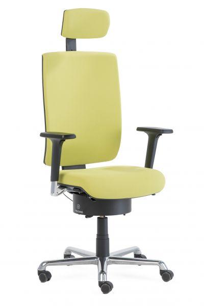 Drehstuhl Tailwind 2 mit Pending Sitzsystem, 2D-Armlehnen, Fußkreuz poliert und Kopfstütze