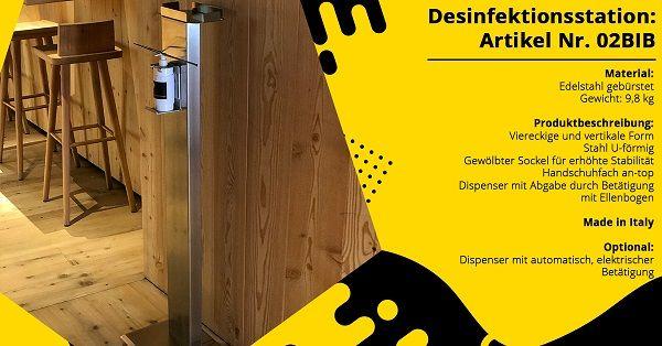 Mobile Desinfektionsstation ZZI02BIB in Edelstahl