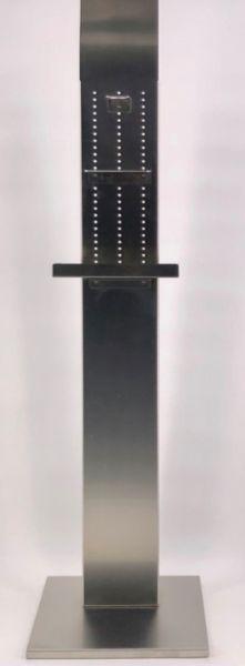 Mobile Desinfektionsstation ZZI03LCN in Aluminium mit Wanne für Handschuhbox und Desinfektionsspender